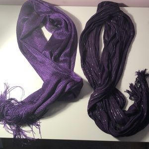 2 purple scarves